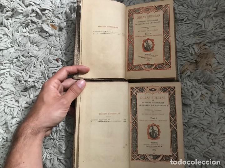 Libros antiguos: Obras Sueltas de Lupercio y Bartolomé. Leonardo de Argensola. Dos tomos. Madrid, 1889 - Foto 5 - 164282166