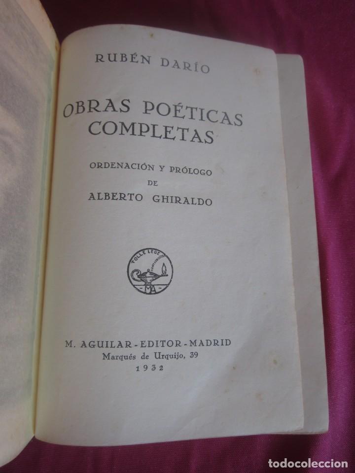 Libros antiguos: POESÍAS OBRAS COMPLETAS RUBÉN DARÍO .PRIMERA EDICION 1932 AGUILAR - Foto 6 - 164467030