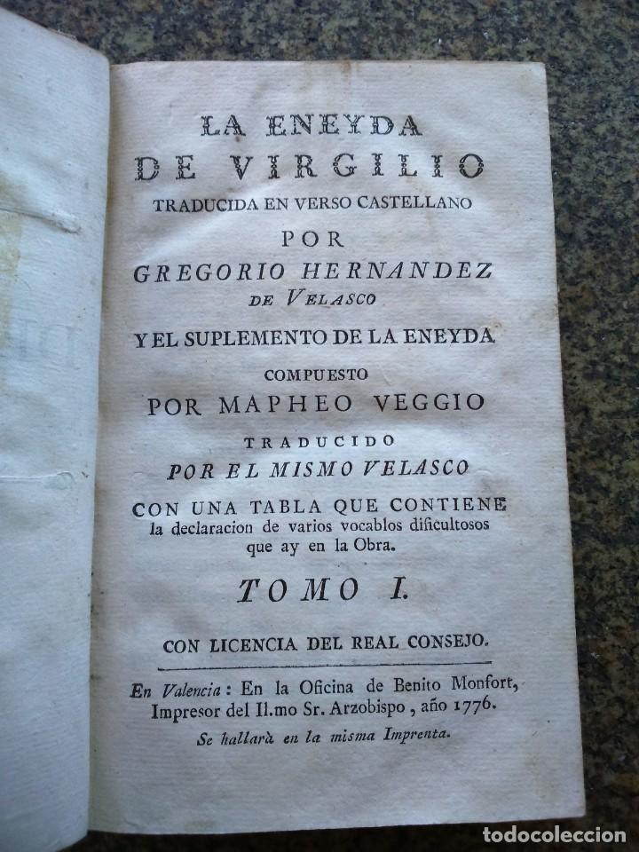 LA ENEYDA DE VIRGILIO - TOMO I -- TRADUCIDA POR GREGORIO HERNANDEZ DE VELASCO -- 1776 -- (Libros antiguos (hasta 1936), raros y curiosos - Literatura - Narrativa - Clásicos)