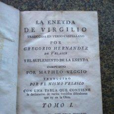 Libros antiguos: LA ENEYDA DE VIRGILIO - TOMO I -- TRADUCIDA POR GREGORIO HERNANDEZ DE VELASCO -- 1776 -- . Lote 165734738