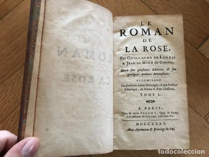 Libros antiguos: Le Roman de la Rose. Guillame de Lorris & Jean de Meun dit Clopinet. 1735. 3 Vol + Suplemento - Foto 2 - 168129448