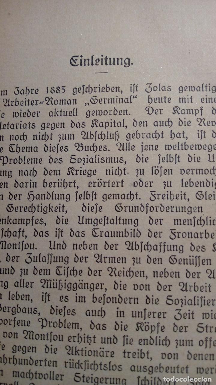 Libros antiguos: EMILE ZOLA GERMINAL. EDICIÓN ALEMANA DE 1921 LETRA GÓTICA. Texto en alemán - Foto 4 - 173652323