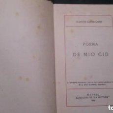 Libros antiguos: CLÁSICOS CASTELLANOS-POEMA DE MIO CID-EDICIONES LA LECTURA-1923-. Lote 175651712