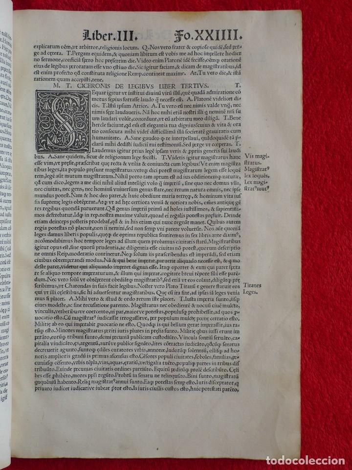 Libros antiguos: AÑO 1521 - 34 CM - ENORME POST INCUNABLE - OBRAS DE CICERON - PRECIOSO - GRABADOS - HAY QUE VERLO - Foto 29 - 175732800
