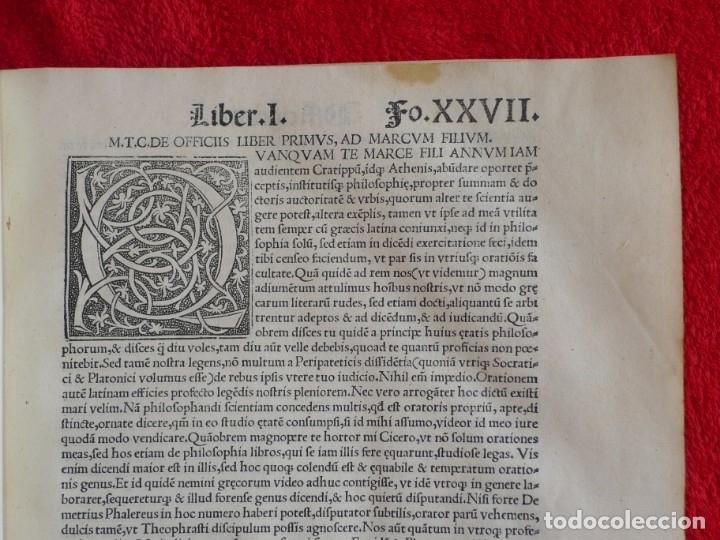Libros antiguos: AÑO 1521 - 34 CM - ENORME POST INCUNABLE - OBRAS DE CICERON - PRECIOSO - GRABADOS - HAY QUE VERLO - Foto 31 - 175732800