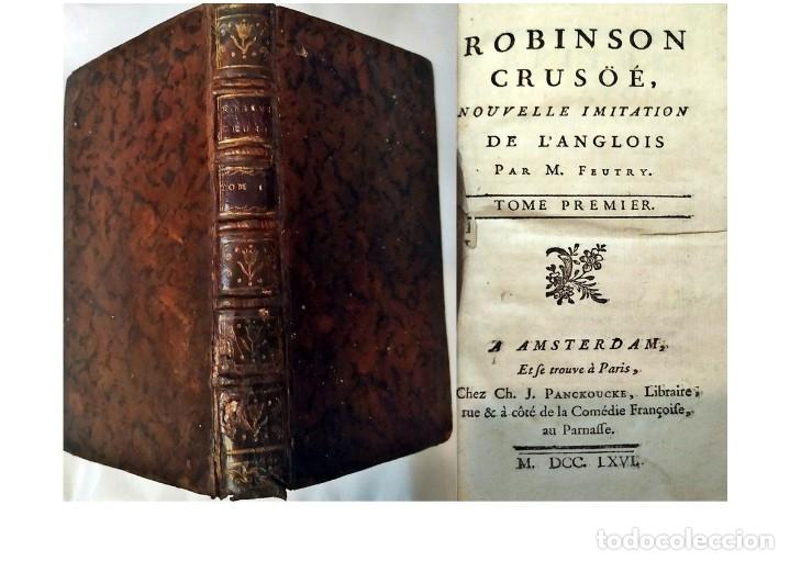 AÑO 1766: ROBINSON CRUSOE. LIBRO DEL SIGLO XVIII. (Libros antiguos (hasta 1936), raros y curiosos - Literatura - Narrativa - Clásicos)