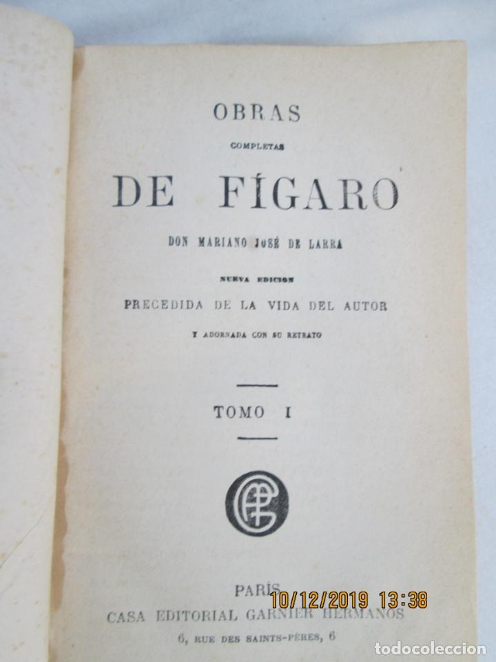 OBRAS COMPLETAS DE FÍGARO. D. MARIANO JOSÉ LARRA - TOMO I - PARIS 1843. (Libros antiguos (hasta 1936), raros y curiosos - Literatura - Narrativa - Clásicos)
