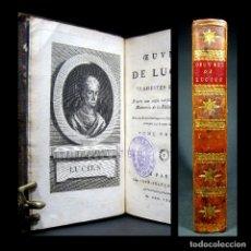Libros antiguos: AÑO 1788 LUCIANO DE SAMÓSATA MUY RARO EN COMERCIO ANTIGUA GRECIA GRABADO FRONTISPICIO 240 AÑOS. Lote 181439233