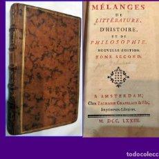 Libros antiguos: AÑO 1773: MÉLANGES DE LITTÉRATURE. SIGLO XVIII. MUY BIEN CONSERVADO.. Lote 183311922