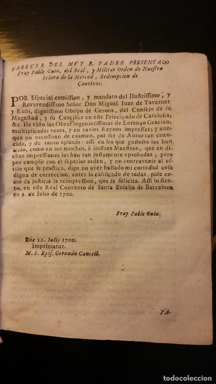 Libros antiguos: 1734 - LORENZO GRACIÁN - OBRAS: El Criticon, El Oráculo, Héroe - Foto 3 - 183682635
