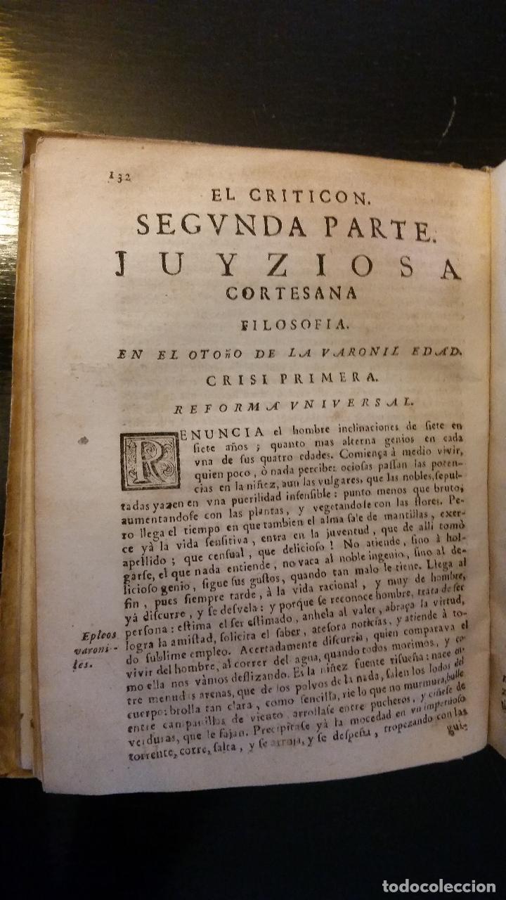 Libros antiguos: 1734 - LORENZO GRACIÁN - OBRAS: El Criticon, El Oráculo, Héroe - Foto 6 - 183682635