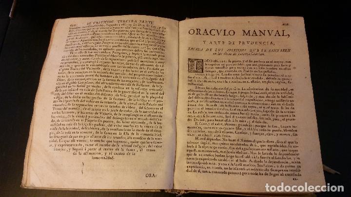 Libros antiguos: 1734 - LORENZO GRACIÁN - OBRAS: El Criticon, El Oráculo, Héroe - Foto 9 - 183682635