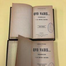 Libros antiguos: QUO VADIS - SCENKIEWICKZ - TOMO I Y II - EDICIONES GARCÍA Y MANENT - 1900 - MEDIA PIEL. Lote 186699232