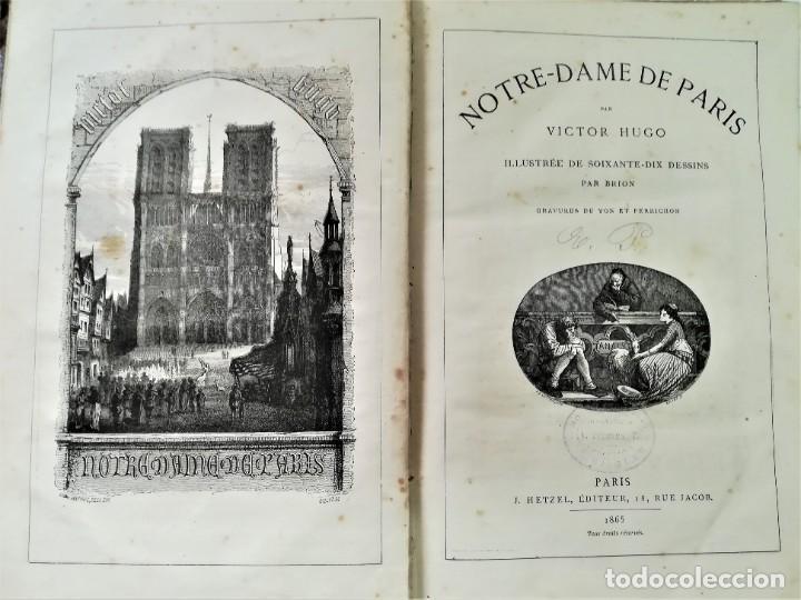 LIBRO,NOTRE DAME DE PARIS,DE VICTOR HUGO,SIGLO XIX, AÑO 1865,EL JOROBADO,NOVELA GOTICA CLASICA (Libros antiguos (hasta 1936), raros y curiosos - Literatura - Narrativa - Clásicos)