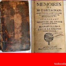Libros antiguos: AÑO 1702: MEMORIAS DE D'ARTAGNAN. VALORADO LIBRO DEL SIGLO XVIII.. Lote 189254623
