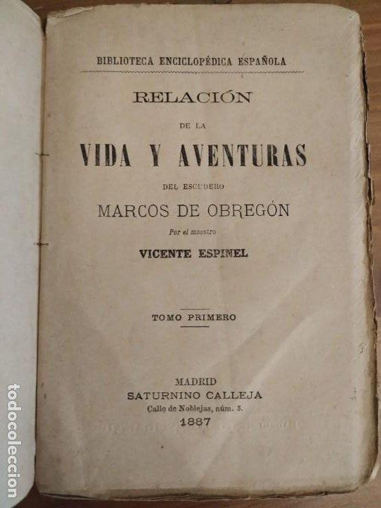 RELACIÓN DE LA VIDA Y AVENTURAS DEL ESCUDERO TOMO PRIMERO MARCOS DE OBREGÓN 1887 - VICENTE ESPINEL. (Libros antiguos (hasta 1936), raros y curiosos - Literatura - Narrativa - Clásicos)