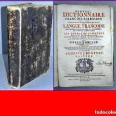 Libros antiguos: AÑO 1739: DICCIONARIO DEL SIGLO XVIII FRANCÉS-ALEMÁN, DE GRAN TAMAÑO: 33 CM.. Lote 190926982