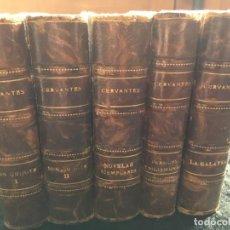 Libros antiguos: 1880 - 5 TOMOS - MIGUEL DE CERVANTES - 2 TOMOS DEL QUIJOTE - GALATEA - NOVELAS EJEMPLARES - PERSILES. Lote 192500208