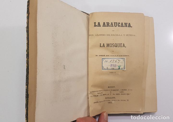 Libros antiguos: 1861. A. de Ercilla LA ARAUCANA con José de Villaviciosa LA MOSQUEA (Sigüenza, Guadalajara). 2 tomos - Foto 5 - 193115678