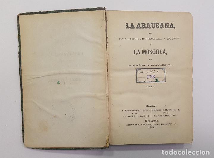 Libros antiguos: 1861. A. de Ercilla LA ARAUCANA con José de Villaviciosa LA MOSQUEA (Sigüenza, Guadalajara). 2 tomos - Foto 6 - 193115678