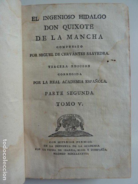EL INGENIOSO HIDALGO DON QUIXOTE DE LA MANCHA. CERVANTES. TOMO V. VIUDA DE IBARRA. MADRID 1787 (Libros antiguos (hasta 1936), raros y curiosos - Literatura - Narrativa - Clásicos)