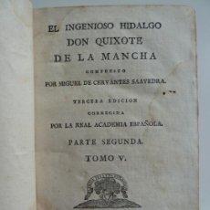 Libros antiguos: EL INGENIOSO HIDALGO DON QUIXOTE DE LA MANCHA. CERVANTES. TOMO V. VIUDA DE IBARRA. MADRID 1787. Lote 194080860