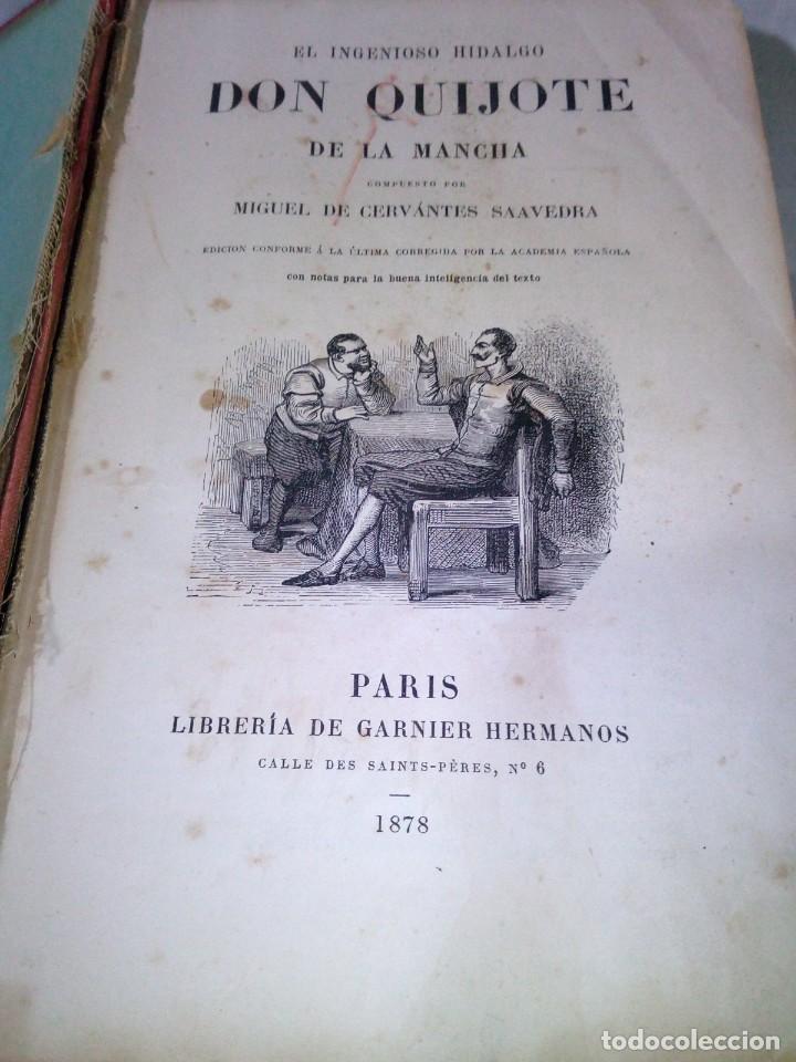 Libros antiguos: ~~~~ BELLISIMA EDICION DE DON QUIJOTE CON ILUSTRACIONES, 1878, GARNIER HERMANOS - PARIS. ~~~~ - Foto 3 - 194202371
