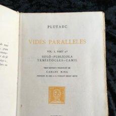Libros antiguos: PLUTARC - VIDES PARALLELES - SOLÓ - PUBLÍCOLA - TEMÍSTOCLES - CAMIL - NUMERAT Nº100 PAPER FILL. Lote 194305791