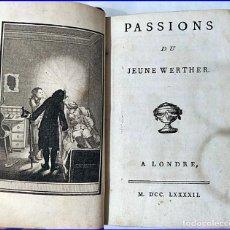Libros antiguos: AÑO 1792. GOETHE: EL JOVEN WERTHER. LIBRO DEL SIGLO XVIII. TEMPRANA EDICIÓN.. Lote 194517475