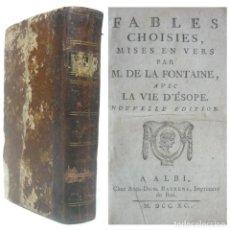 Libros antiguos: 1790 - LAS FÁBULAS DE LA FONTAINE - LA VIDA ESOPO - ANIMALES ANTROPOMORFOS - MORALEJAS - SIGLO XVIII. Lote 194943548