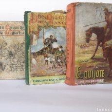 Libros antiguos: QUIJOTE. LOTE 3 LIBROS EDICIONES ESCOLARES.. Lote 194961960
