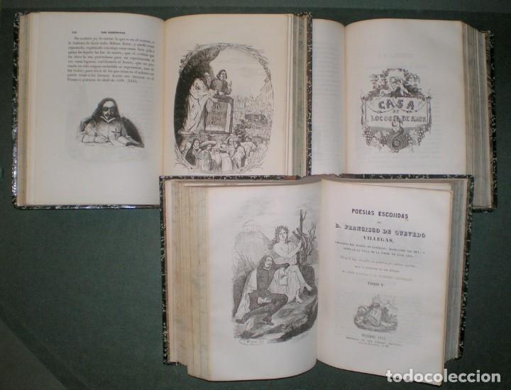 OBRAS DE D. FRANCISCO DE QUEVEDO VILLEGAS. 5 TOMOS ENCUADERNADOS EN 3 VOLÚMENES. 1841-1845 (Libros antiguos (hasta 1936), raros y curiosos - Literatura - Narrativa - Clásicos)