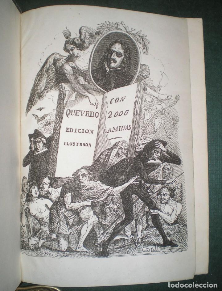 Libros antiguos: Obras de D. Francisco de Quevedo Villegas. 5 tomos encuadernados en 3 volúmenes. 1841-1845 - Foto 2 - 195370523