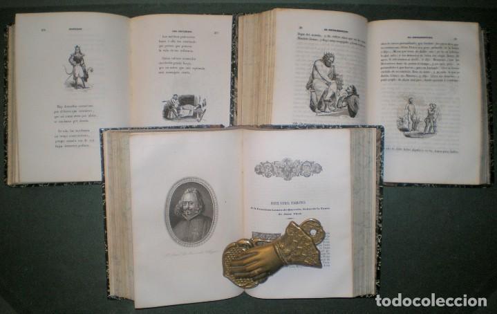 Libros antiguos: Obras de D. Francisco de Quevedo Villegas. 5 tomos encuadernados en 3 volúmenes. 1841-1845 - Foto 3 - 195370523