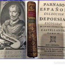 Libros antiguos: AÑO 1776: PARNASO ESPAÑOL. POESÍAS DE LOS MÁS CÉLEBRES POETAS CASTELLANOS. GÓNGORA, MENDOZA, ALCÁZAR. Lote 195804460