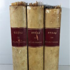 Libros antiguos: OBRAS DE JULIO VERNE. 3 VOLÚMENES. EDITOR AGUSTÍN JUBERA- HNOS. JUBERA. 1887/89.. Lote 197421428