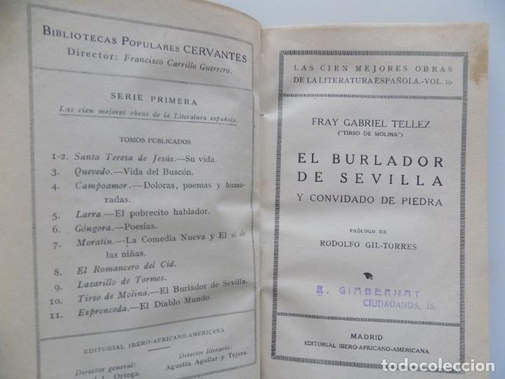 Libros antiguos: LIBRERIA GHOTICA. LUJOSA EDICIÓN EN PERGAMINO DE TIRSO DE MOLINA.EL BURLADOR DE SEVILLA.1930 - Foto 4 - 197486045