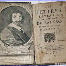 Libros antiguos: AÑO 1659: LAS CARTAS DE BALZAC.. Lote 197607666