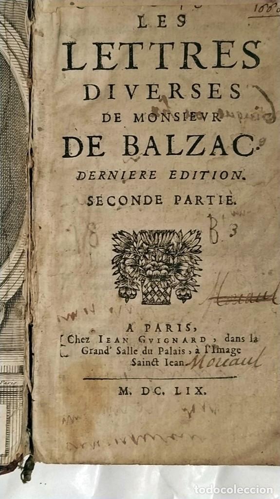 Libros antiguos: AÑO 1659: LAS CARTAS DE BALZAC. - Foto 3 - 197607666