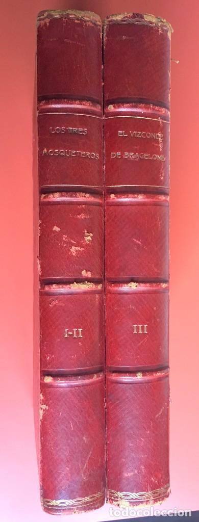 Libros antiguos: TRILOGÍA LOS TRES MOSQUETEROS - DUMAS - CROMOLITOGRAFÍAS - F. SEIX EDITOR - 3 VOL. EN 2 TOMOS - Foto 2 - 198638027