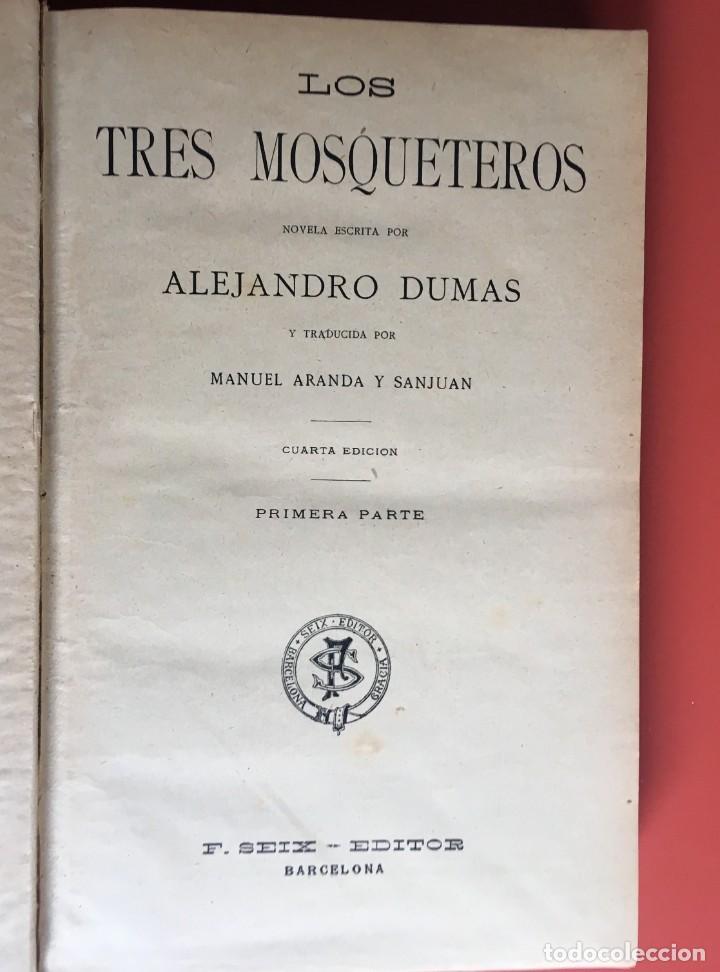 Libros antiguos: TRILOGÍA LOS TRES MOSQUETEROS - DUMAS - CROMOLITOGRAFÍAS - F. SEIX EDITOR - 3 VOL. EN 2 TOMOS - Foto 5 - 198638027