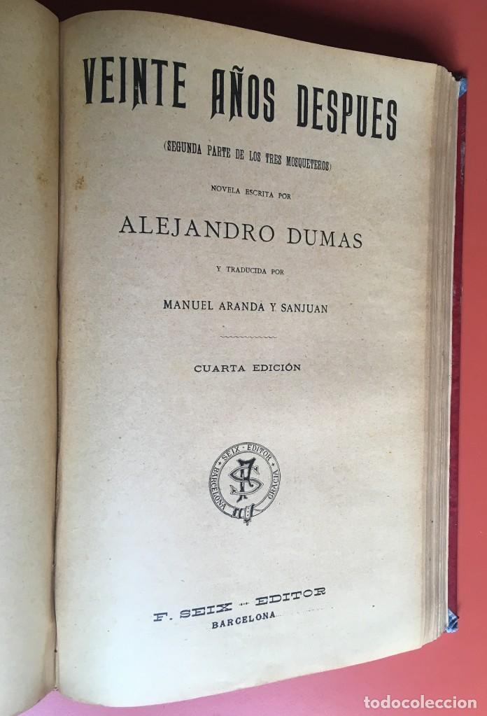 Libros antiguos: TRILOGÍA LOS TRES MOSQUETEROS - DUMAS - CROMOLITOGRAFÍAS - F. SEIX EDITOR - 3 VOL. EN 2 TOMOS - Foto 15 - 198638027