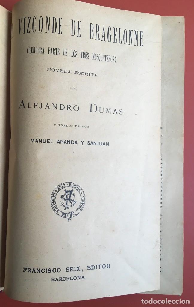 Libros antiguos: TRILOGÍA LOS TRES MOSQUETEROS - DUMAS - CROMOLITOGRAFÍAS - F. SEIX EDITOR - 3 VOL. EN 2 TOMOS - Foto 26 - 198638027