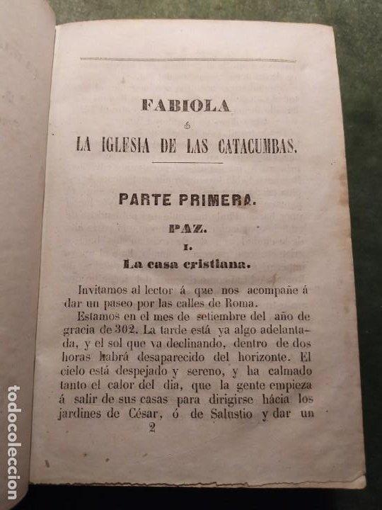 Libros antiguos: 1861. Fabiola o la iglesia de las catacumbas. Cardenal Wisseman. Completo. - Foto 3 - 198848272
