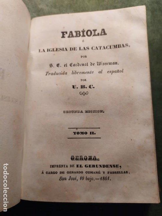 Libros antiguos: 1861. Fabiola o la iglesia de las catacumbas. Cardenal Wisseman. Completo. - Foto 8 - 198848272