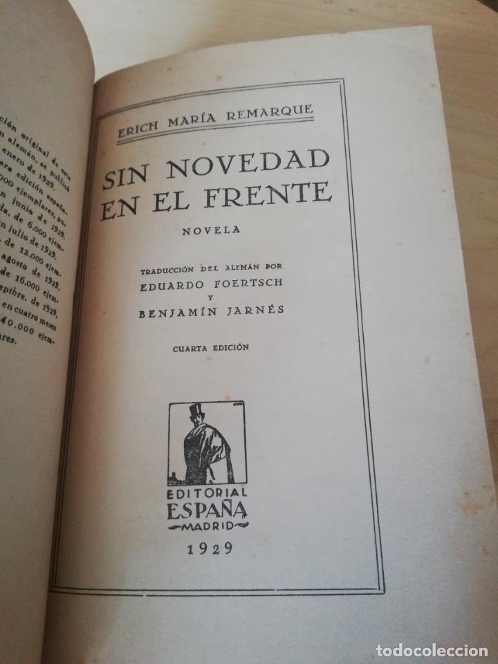 ERICH MARIA REMARQUE. SIN NOVEDAD EN EL FRENTE. (Libros antiguos (hasta 1936), raros y curiosos - Literatura - Narrativa - Clásicos)