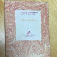 Libros antiguos: DEDICATORIAS. CAMILO JOSÉ CELA. 1ª EDICIÓN CORREGIDA.. Lote 200727997