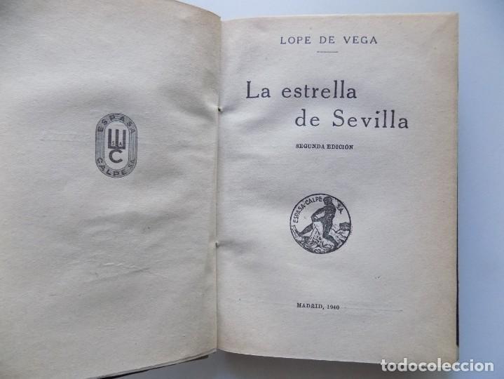 Libros antiguos: LIBRERIA GHOTICA. LUJOSA EDICIÓN EN MEDIO PERGAMINO DE LOPE DE VEGA. LA ESTRELLA DE SEVILLA. 1940. - Foto 2 - 202521275