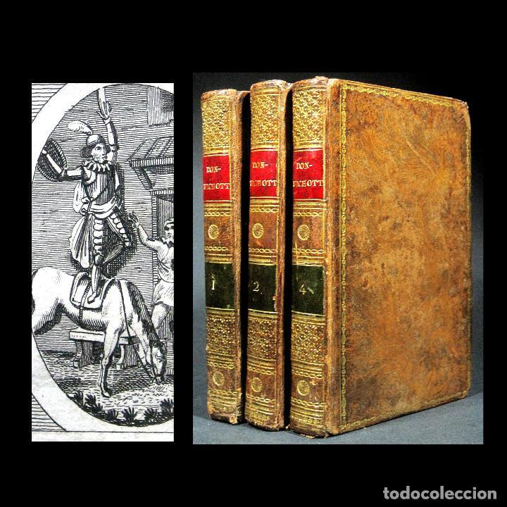 AÑO 1820 QUIJOTE 3 VOLS. EL INGENIOSO HIDALGO DON QUIJOTE DE LA MANCHA CERVANTES GRABADOS QUIXOTE (Libros antiguos (hasta 1936), raros y curiosos - Literatura - Narrativa - Clásicos)
