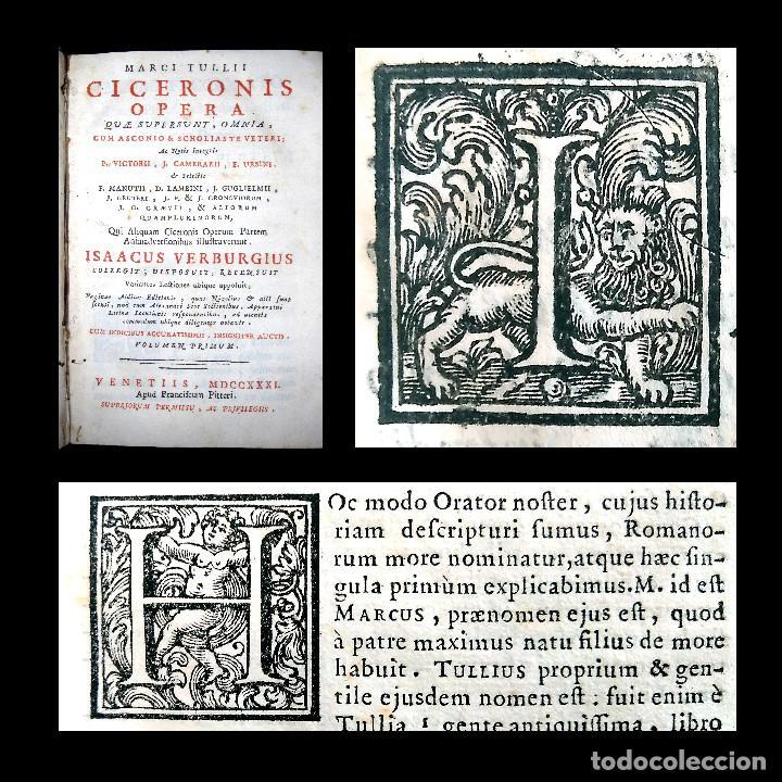 AÑO 1731 CICERONIS HISTORIA DE INVENTIONE RHETORICORUM ANTIGUA ROMA VENECIA CICERÓN (Libros antiguos (hasta 1936), raros y curiosos - Literatura - Narrativa - Clásicos)